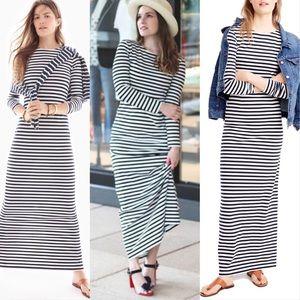 J. Crew Long-Sleeve Striped Maxi Dress Sz 8